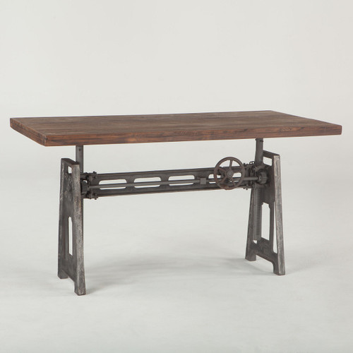 French Industrial Loft Metal and Wood Crank Adjustable dining Table