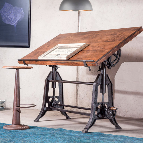 French Industrial Architect Drafting Table · Adjustable Height Drafting  Table + Dining Table, Industrial ...