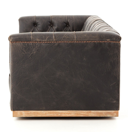 Ordinaire ... Maxx Distressed Black Leather Tufted Sofa With Nailheads ...