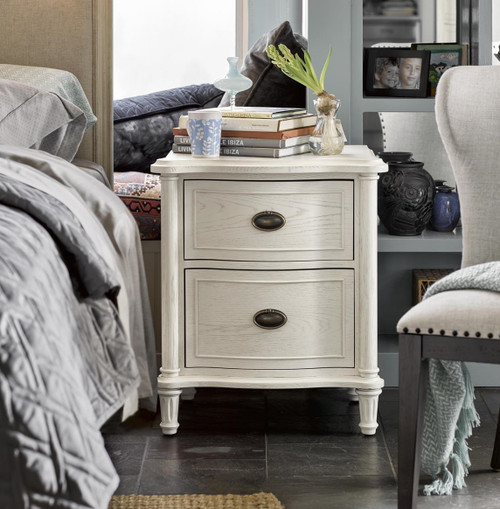 Amity French Oak 2 Drawer Nightstand - White