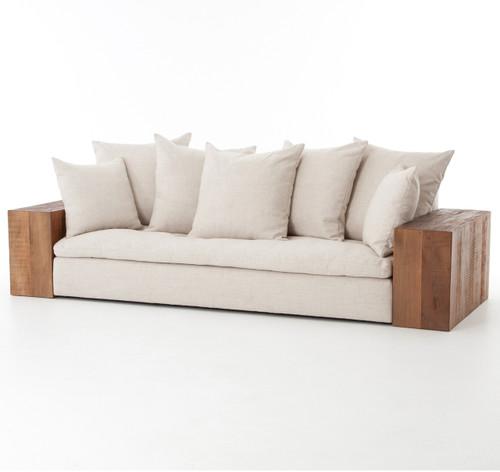 dorset industrial loft linen sofa with peroba wood arms zin home. Black Bedroom Furniture Sets. Home Design Ideas