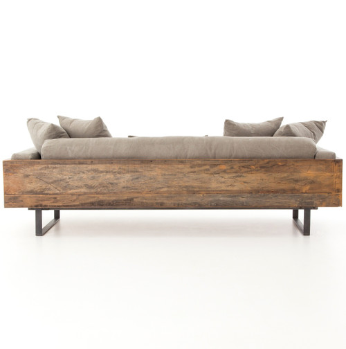 Ranger Rustic Loft Natural Linen Exposed Wood Sofa Zin Home