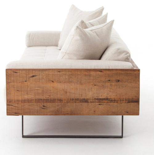 Delightful ... Ranger Industrial Loft Reclaimed Wood Frame Sofa   Natural Linen ...