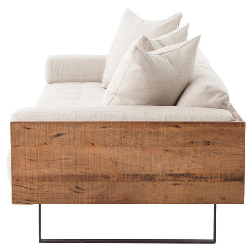 LLoyd Rustic Loft Natural Linen Exposed Wood Sofa
