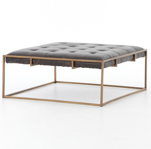Oxford Tufted Black Leather Ottoman Square Coffee Table ...