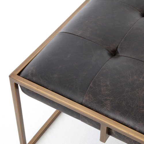 ... Oxford Tufted Black Leather Square Ottoman Coffee Table With Brass ...