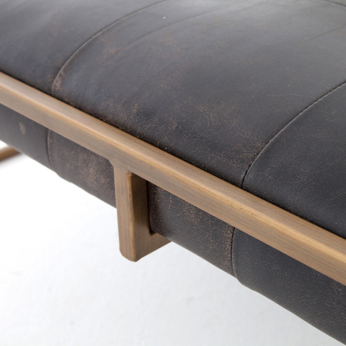 Italian Ottoman Coffee Table: Oxford Tufted Black Leather Square Ottoman Coffee Table