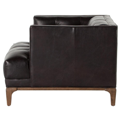 Dylan Mid Century Modern Tufted Black Leather Chair Zin Home
