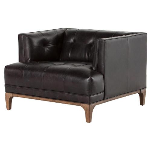 dylan mid century modern tufted black leather chair zin home. Black Bedroom Furniture Sets. Home Design Ideas