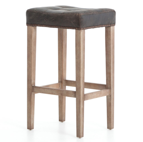 Ashford Sean Destroyed Black Leather Bar Stool