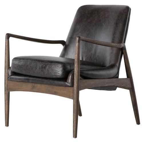 Braden Mid-Century Modern Black Leather Club Chair