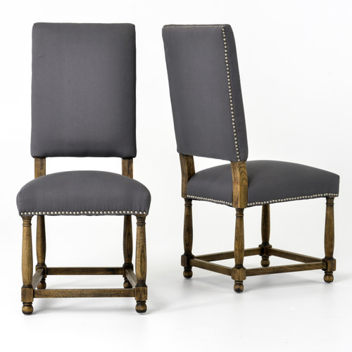 spanish grey cotton upholstered high back dining chair zin home. Black Bedroom Furniture Sets. Home Design Ideas
