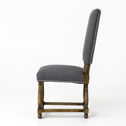 Upholstered High Back Dining Chair: Spanish Grey Cotton Upholstered High-Back Dining Chair