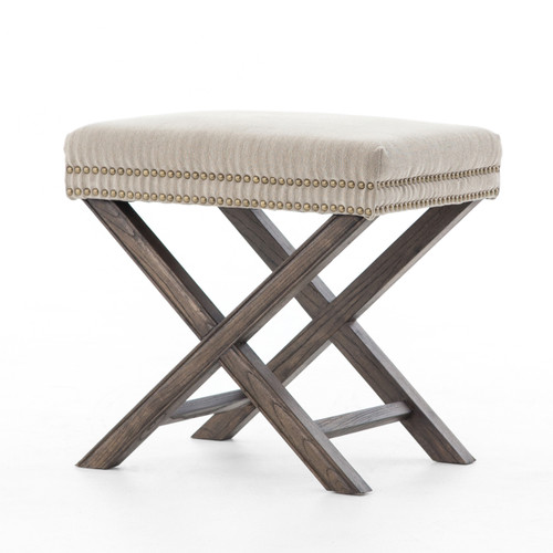 French Modern X Base Leather Stool Ottoman Zin Home