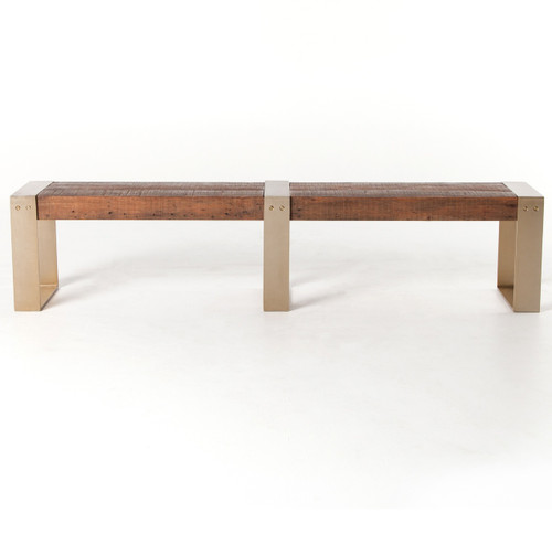 ... Reece Reclaimed Wood Dining Bench With Brass Legs ...