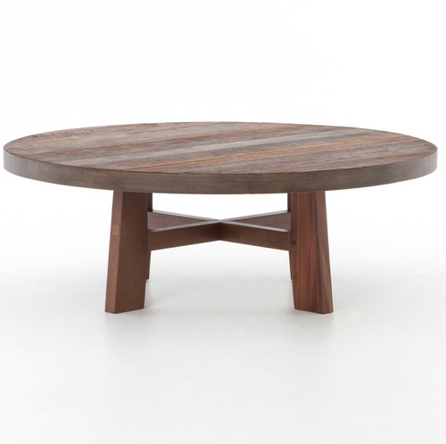 lauren reclaimed wood round coffee table 36 zin home. Black Bedroom Furniture Sets. Home Design Ideas