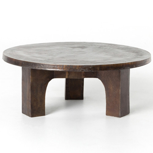 Industrial Renaissance Outdoor Coffee Table: Cruz Round Outdoor Coffee Table - Antique Rust