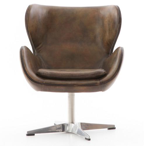 regent vintage espresso leather swivel swan chair zin home
