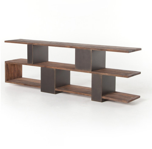 Rollins Industrial Loft Bronze Iron Console Table: Reclaimed Wood Rustic Ginger Console Table