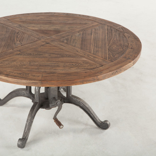 Industrial Storage Coffee Table Review: Steampunk Industrial Crank Adjustable Round Coffee Table