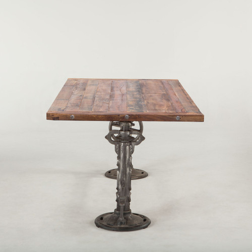 Steampunk Industrial Reclaimed Wood Crank Dining Table Zin Home - Reclaimed wood and iron dining table