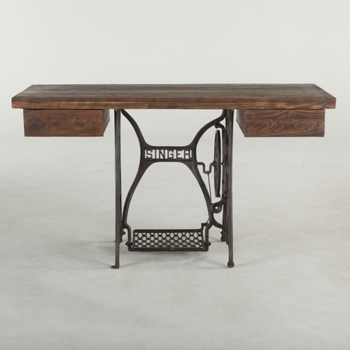 "Singer Sewing Machine Base Reclaimed Wood Desk 54"""