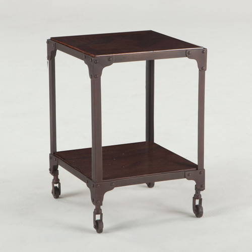 """Steampunk Industrial Loft Iron + Wood Square Side Table 17"""""""