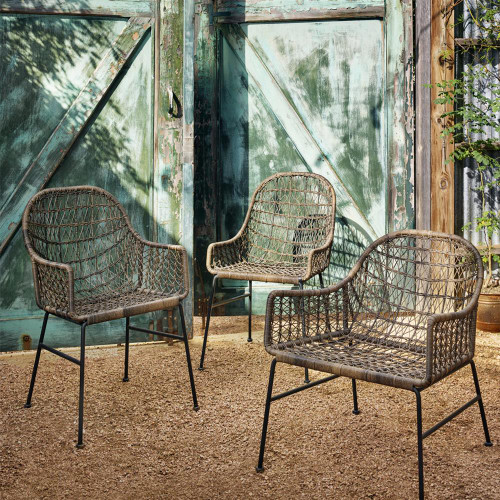 ... Bandera Woven Wicker Outdoor Low Arm Dining Chair ...