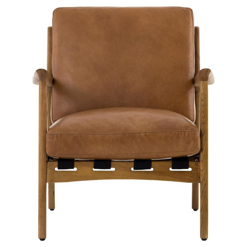 ... Bryna Rustic Lodge Tan Leather Cushioned Wood Arm Chair ...