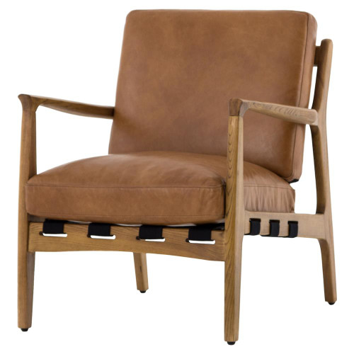 Silas Mid Century Modern Leather Arm Chair   Copper Patina