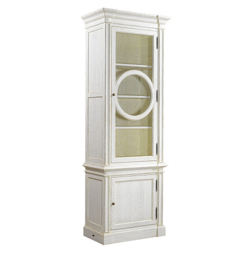 Parisian Vintage Oak Narrow Display Cabinet   White ...