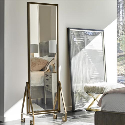 Modern Hollywood Regency Bronze Frame Floor Mirror   Zin Home