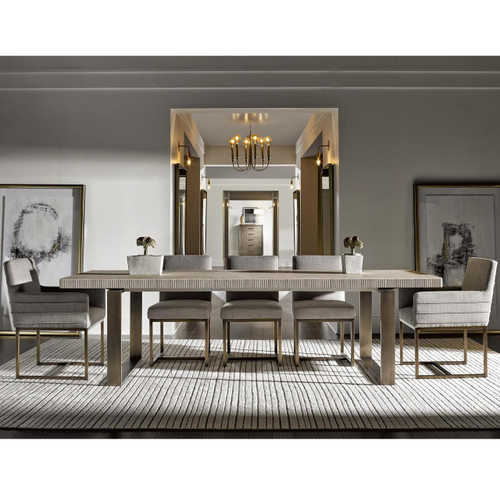 ... Modern Oak Wood + Bronze Metal Leg Extending Dining Table ...