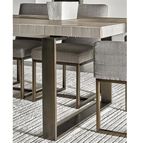 ... Modern Oak Wood + Bronze Metal Leg Extending Dining Table ...
