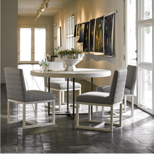 Modern Grey Oak Wood Bronze Metal Leg Round Dining Table