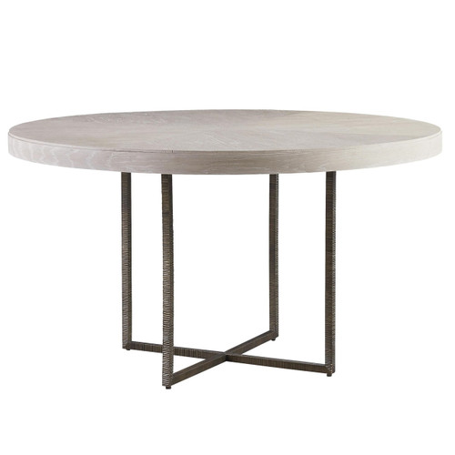 "modern grey oak wood + bronze metal leg round dining table 54"" | zin"