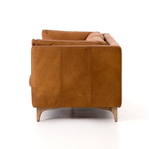 Mid Century Modern Bonded Leather Living Room Sofa Camel: Beckwith Mid Century Modern Camel Leather Cushion Back