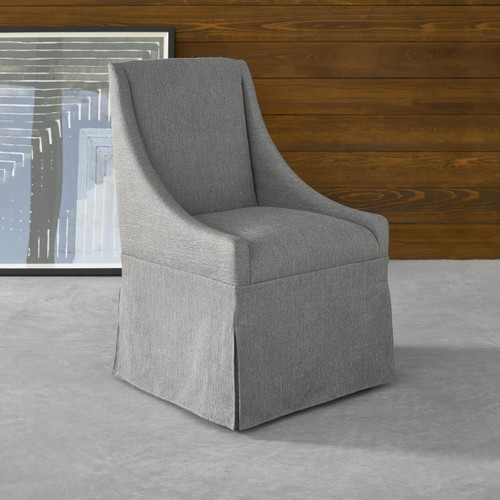 ... Townsend Modern Grey Upholstered Skirted Dining Chair   Gray