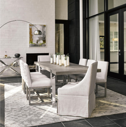 Townsend Belgian Linen Upholstered Skirted Dining Chair ...