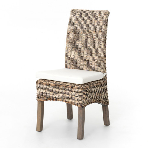 Banana Leaf Woven Dining Side Chair   Grey Wash