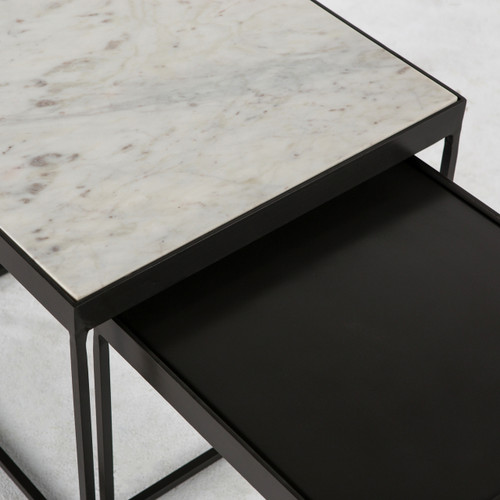 Marble Coffee Table Industrial: Lyn Industrial Iron And White Marble Nesting Coffee Tables