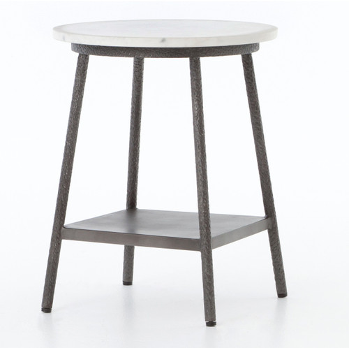 ... Amaris Loft White Marble Hammered Grey Side Table