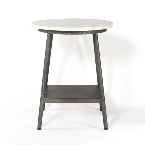 White Marble And Metal Round Accent Table: Lark Industrial Iron And White Marble Round Side Table