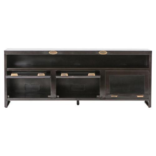 Shadow Box Industrial Aged Iron 3 Door Media Cabinet 71