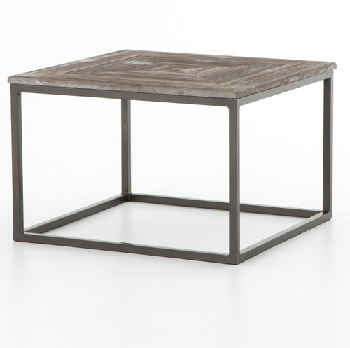 Iron Marble Top Coffee Table: Linden Industrial Iron And Marble Top Square Coffee Table