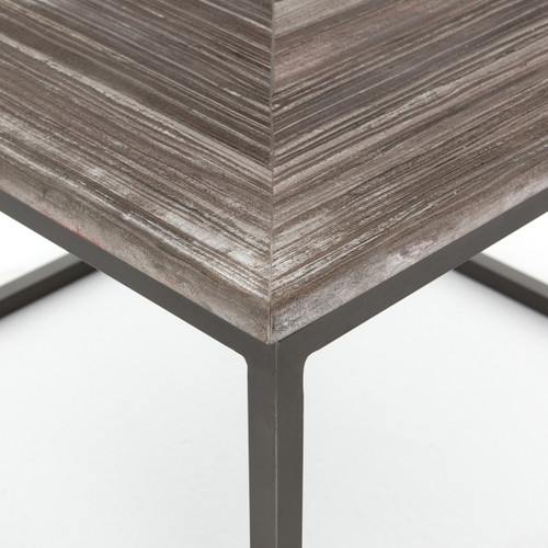 Square Coffee Table Stone: Linden Industrial Iron And Marble Top Square Coffee Table