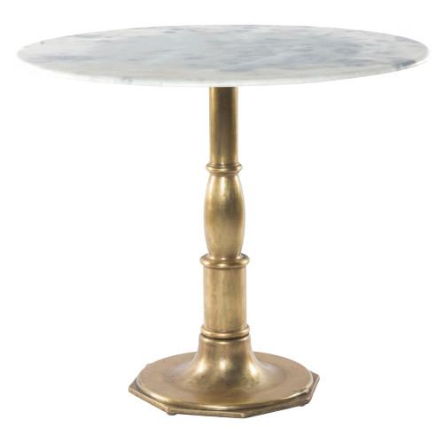 French Bistro White Marble Brass Pedestal Round Table 36