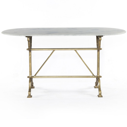 Greatest French Industrial White Marble Top Oval Writing Desk - Brass | Zin  DL61