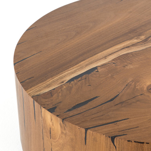 Round Coffee Table Natural Wood: Hudson Round Natural Yukas Wood Block Coffee Table