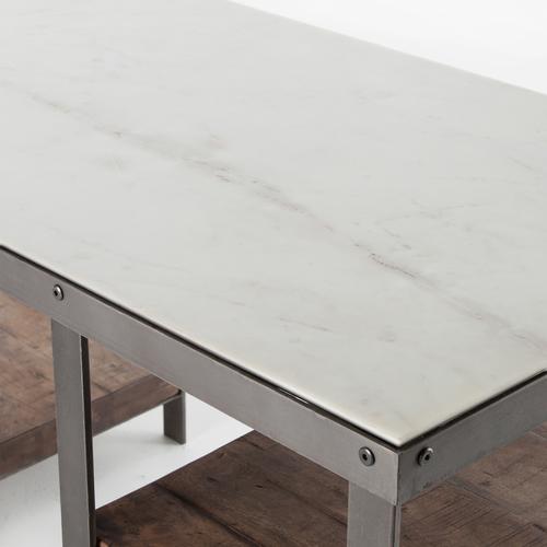 ... Elliot Industrial Iron + White Marble Top Office Desk ...